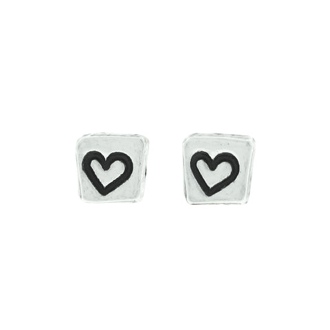 Heart Tiny Affirmation Silver Stud Earrings
