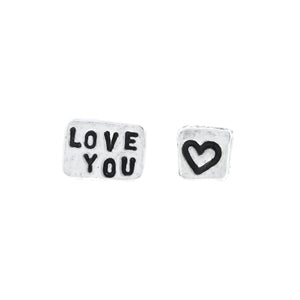 'Love You' Heart Tiny Affirmation Silver Stud Earrings