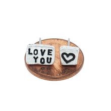 Load image into Gallery viewer, 'Love You' Heart Tiny Affirmation Silver Stud Earrings