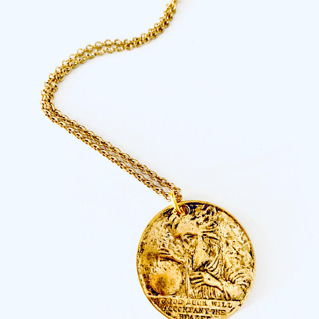 Vintage good Luck Token Necklace