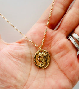 Greek Beauty Cameo Gold Necklace