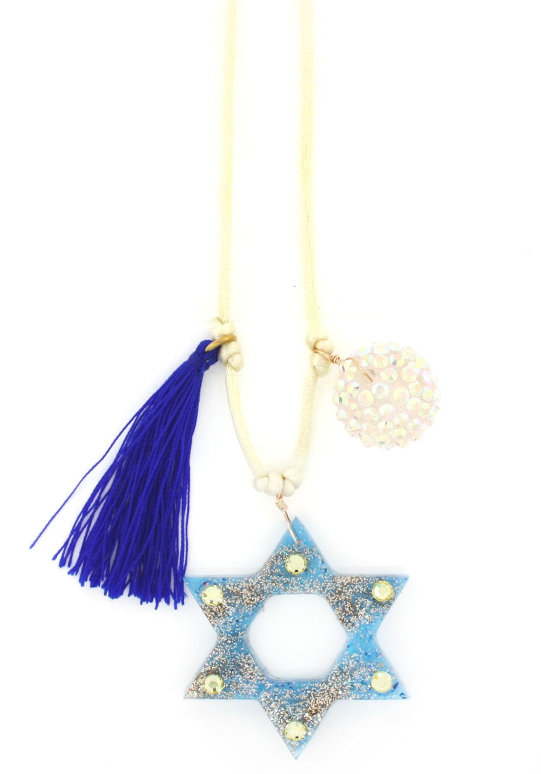Star of David Blue Resin Necklace