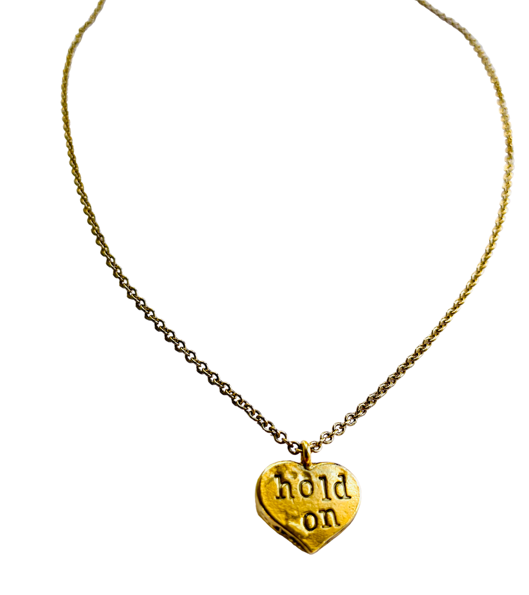 Hold On Tight Stamped Necklace