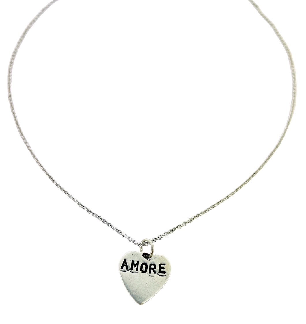 Amore Stamped Heart  Necklace