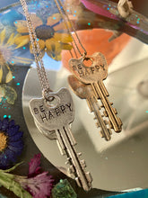 Load image into Gallery viewer, 'Be Happy' Stamped Key Necklace