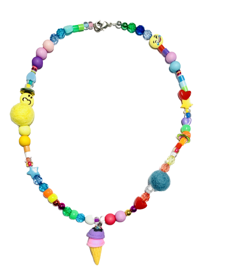 Be Happy Ice Cream Beaded Necklace