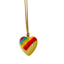 Load image into Gallery viewer, Large Size Vintage Rainbow Heart Necklace