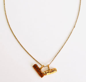 Drama Queen Two Charm Stamped Necklace