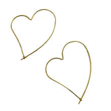 Load image into Gallery viewer, Wire Heart Hoop Earrings