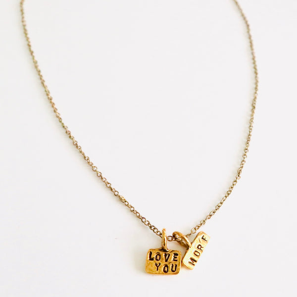 Love You More Handstamped Necklace