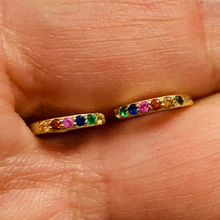 Load image into Gallery viewer, Mini Rainbow Pave Hoop Earrings