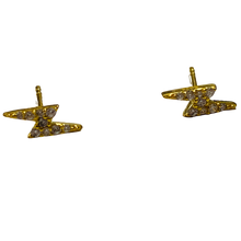 Load image into Gallery viewer, Dainty CZ Pave Lightening Bolt Earrings