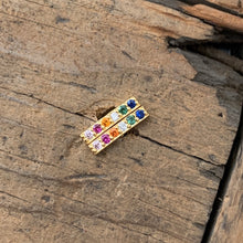 Load image into Gallery viewer, Rainbow Pave Stone Bar Earrings