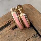 Pink Enamel Huggie Earrings