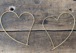 Wire Heart Hoop Earrings
