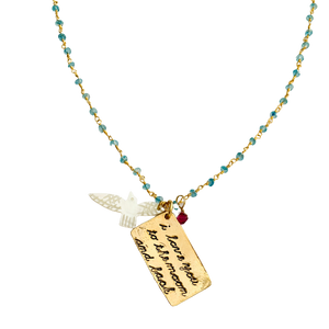 Aquamarine I love you To the Moon and Back Necklace