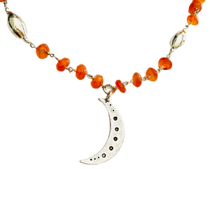 Carnelian and Silver Moon Necklace