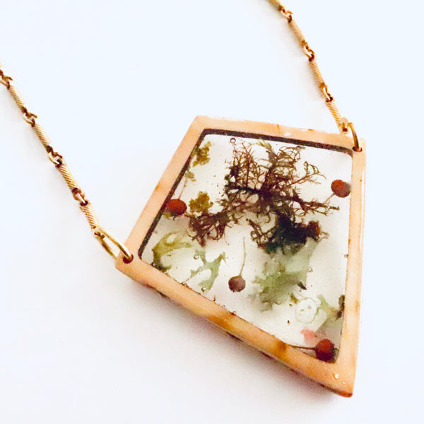 Freeform Resin Terrarium Botanical Necklace