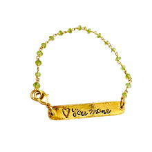 Load image into Gallery viewer, Peridot Love you to the Moon reversible Bracelet
