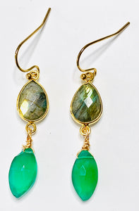 Labradorite and Green Onyx Dangle Earrings