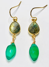 Load image into Gallery viewer, Labradorite and Green Onyx Dangle Earrings