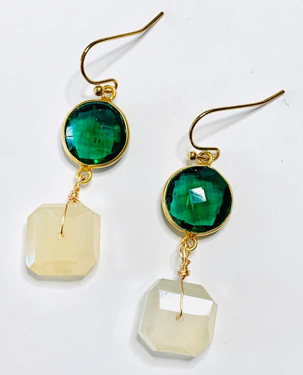 Green Quartz and Mystic Moonstone Drop Earrings