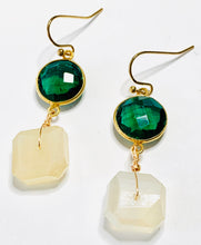 Load image into Gallery viewer, Green Quartz and Mystic Moonstone Drop Earrings