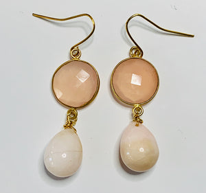 Rose Quartz and Pink Opal Dangle Earrings
