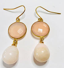 Load image into Gallery viewer, Rose Quartz and Pink Opal Dangle Earrings