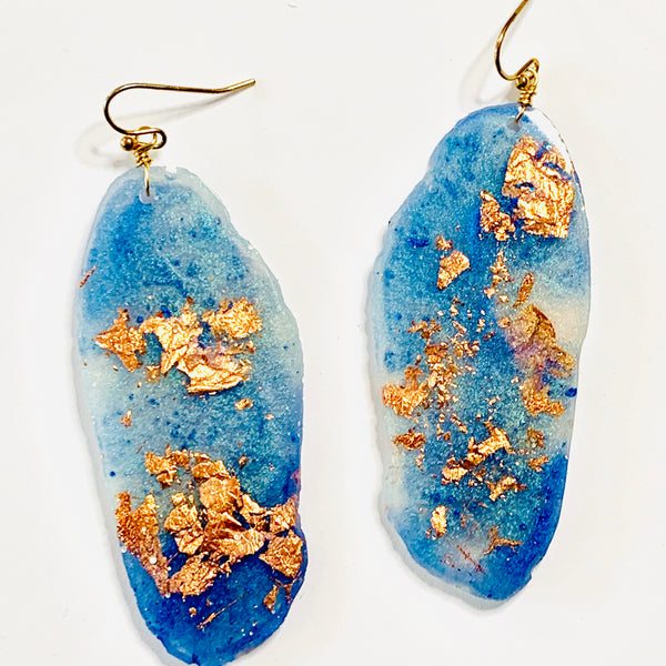 Freeform Periwinkle Blue and Copper Leaf Resin Earrings