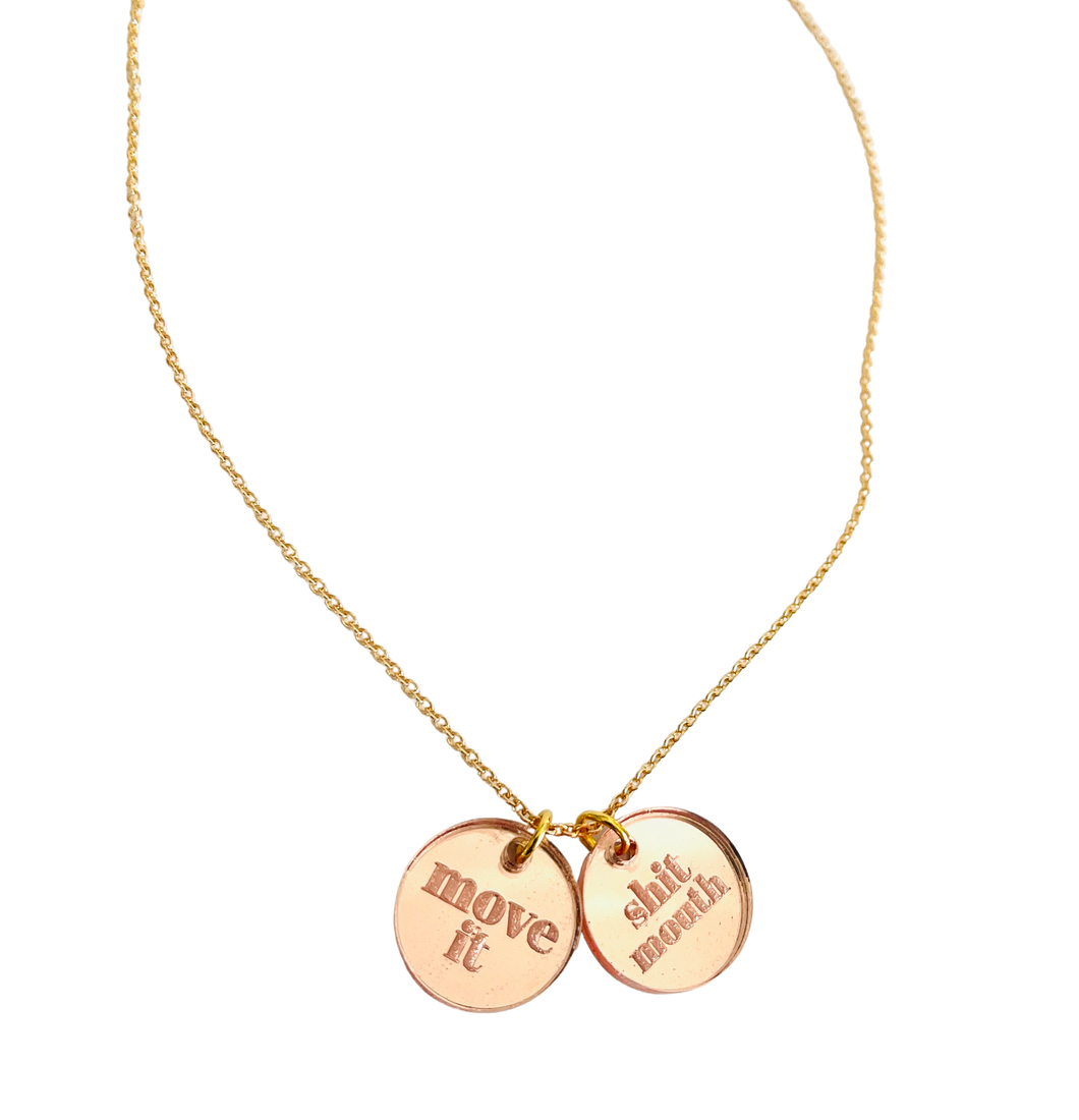 Move It Shit Mouth Rose Gold Acrylic Necklace