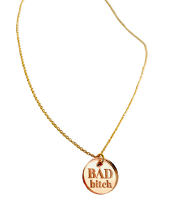 Bad Bitch Rose Gold Acrylic Necklace