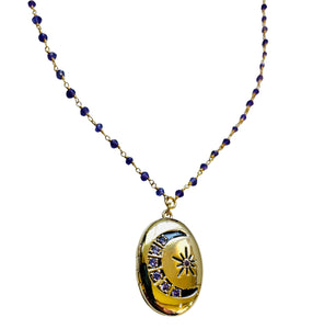 Amethyst Moon and Stars Locket with Amethyst Beaded Chain