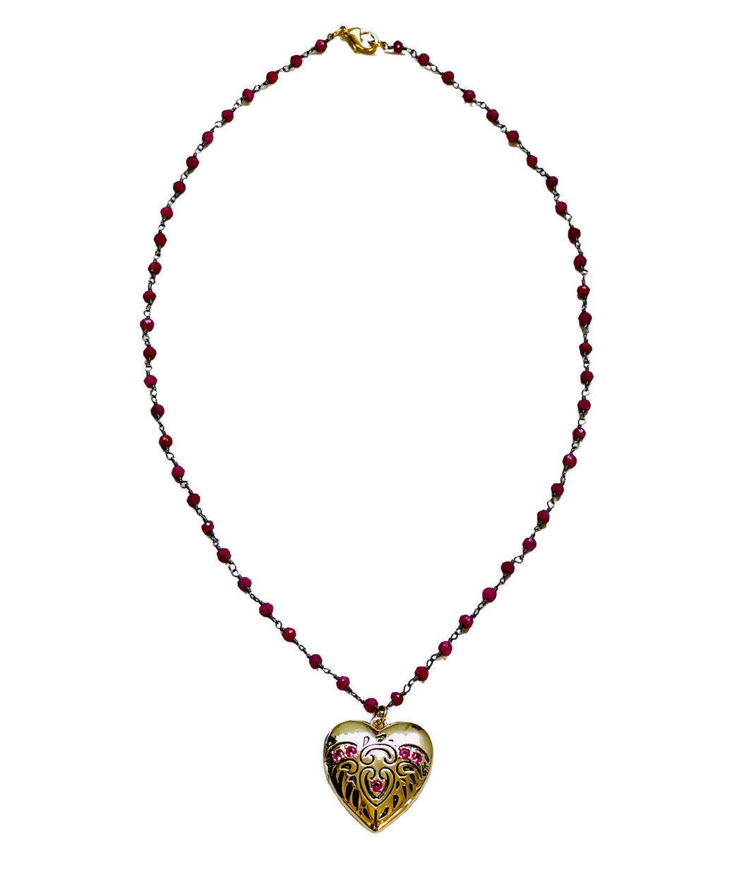 Ruby Heart Locket with Wire Wrapped Ruby Stones Necklace