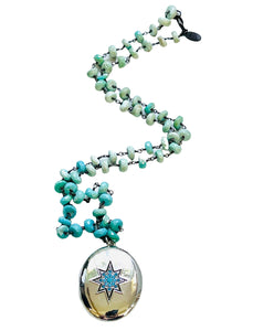 Silver Turquoise Locket with Stunning Turquoise Chain Necklace