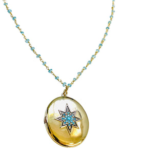 Gold Starburst Locket with Turquoise Stones Aquamarine Necklace
