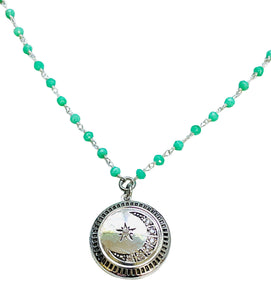 Turquoise Chain with Amethyst Floral Locket