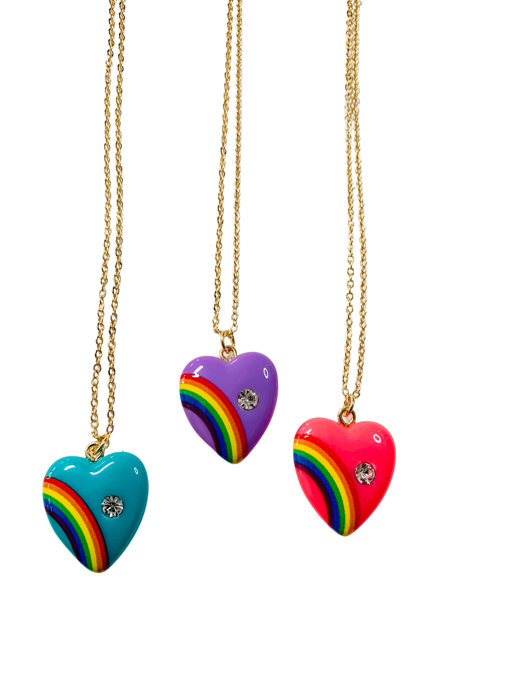 Large Size Vintage Rainbow Heart Necklace