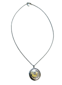 Moon and Star Diamond Locket Necklace