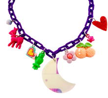 Load image into Gallery viewer, Charm-Tastic Iridescent Moon Necklace