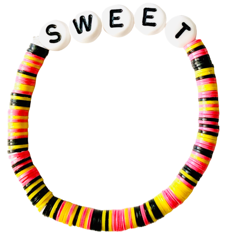 Sweet Vulcanite Word Bracelet