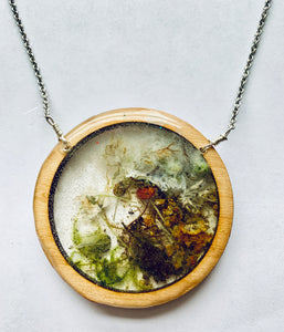 Wood Resin Terrarium Circle Necklace