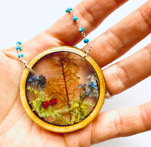 Turquoise Wood Terrarium Circle Necklace