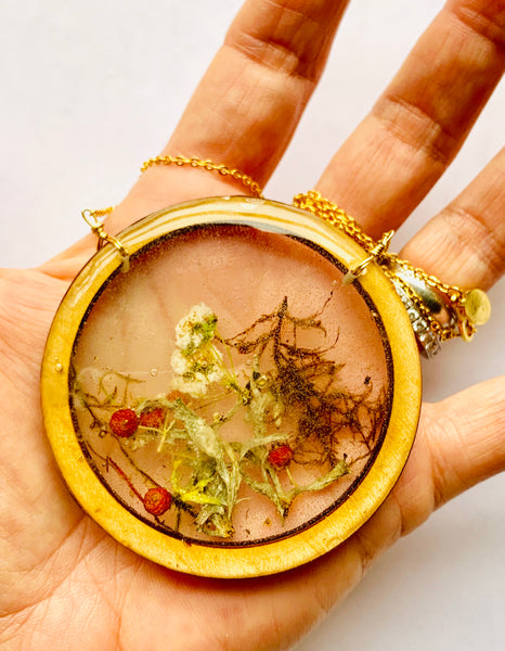 Large Wood Bezel Terrarium Necklace
