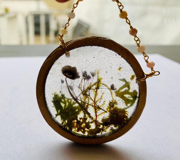 Pink Opal Wood Bezel Resin Terrarium Necklace
