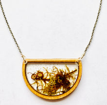 Load image into Gallery viewer, Half Circle Wood Bezel Terrarium Necklace