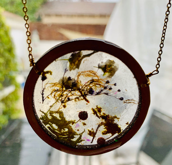 Wood Bezel Resin Terrarium Necklace