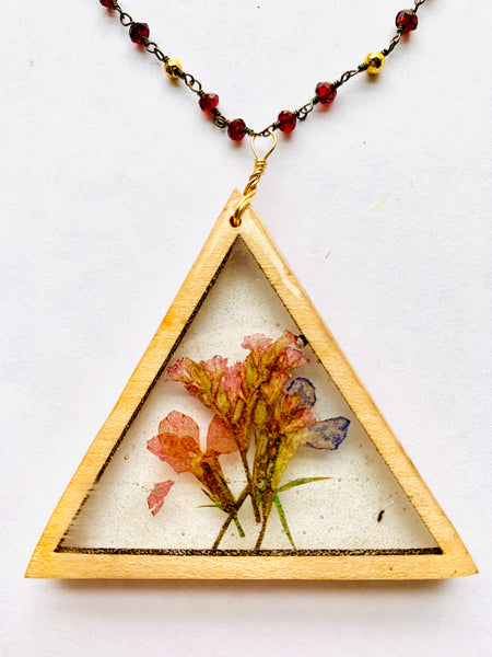 Wood Bezel Geometric Botanical Necklace