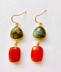 Labradorite Carnelian Drop Earrings
