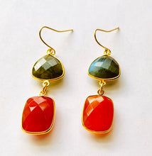 Load image into Gallery viewer, Labradorite Carnelian Drop Earrings